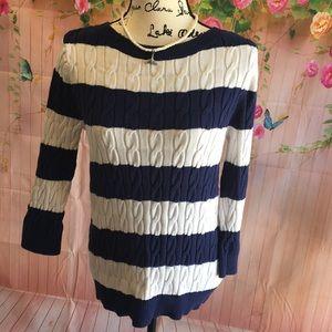 🦋Ann Taylor Loft sweater large GUC blue/white